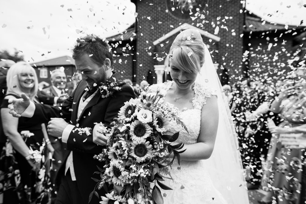 unconventional confetti shot this time close up black and white