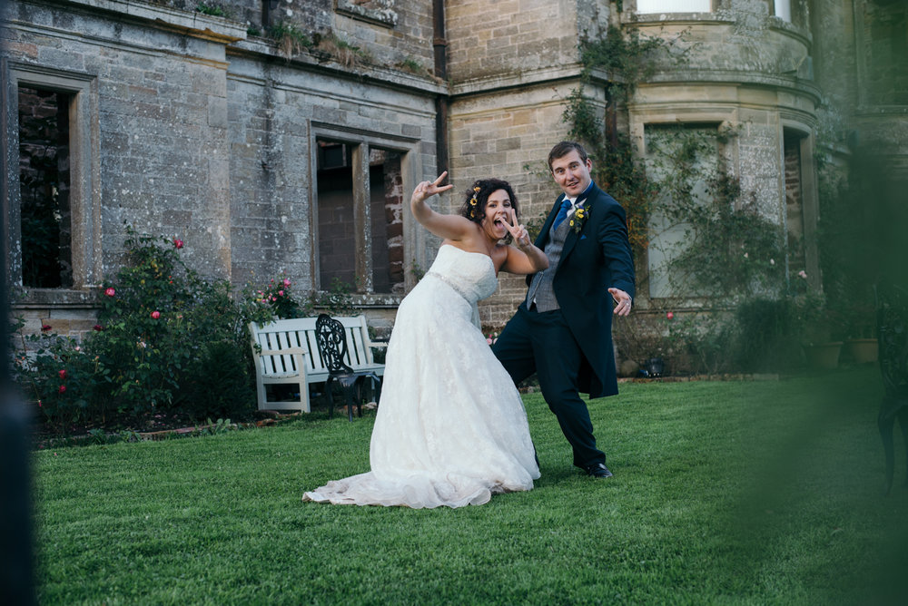 Bride and Groom goofing around at Kirklinton Hall