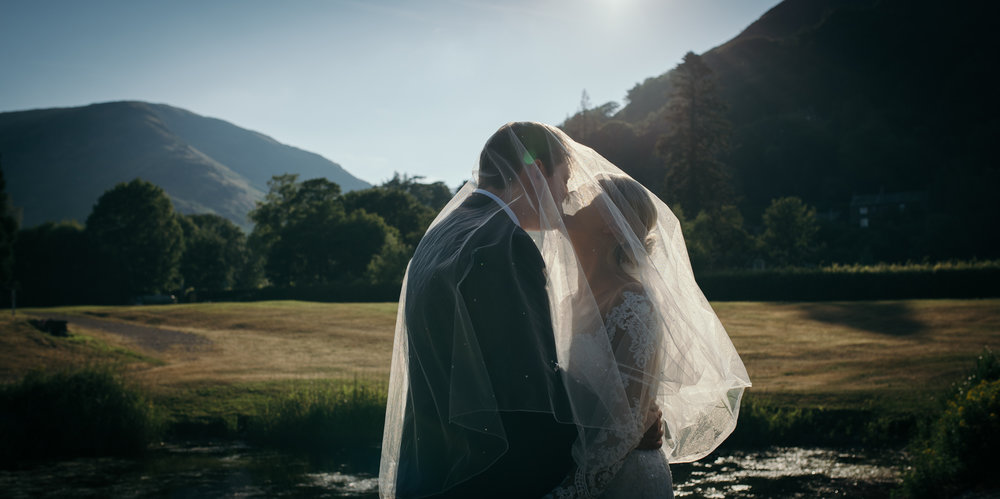 The bride and groom kissing under the brides veil