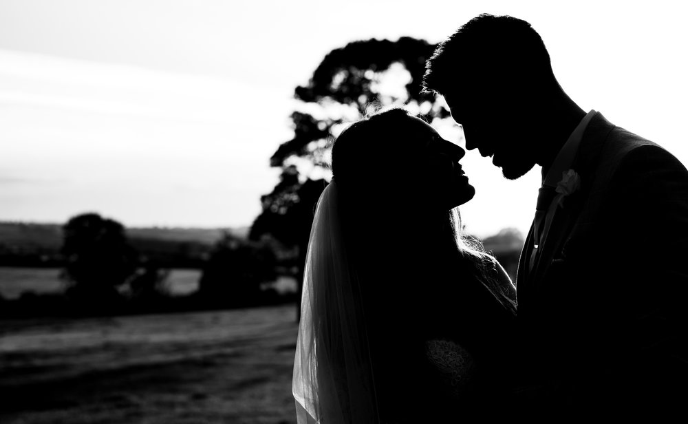 Back and white silhouette of a bride and groom during the portrait session