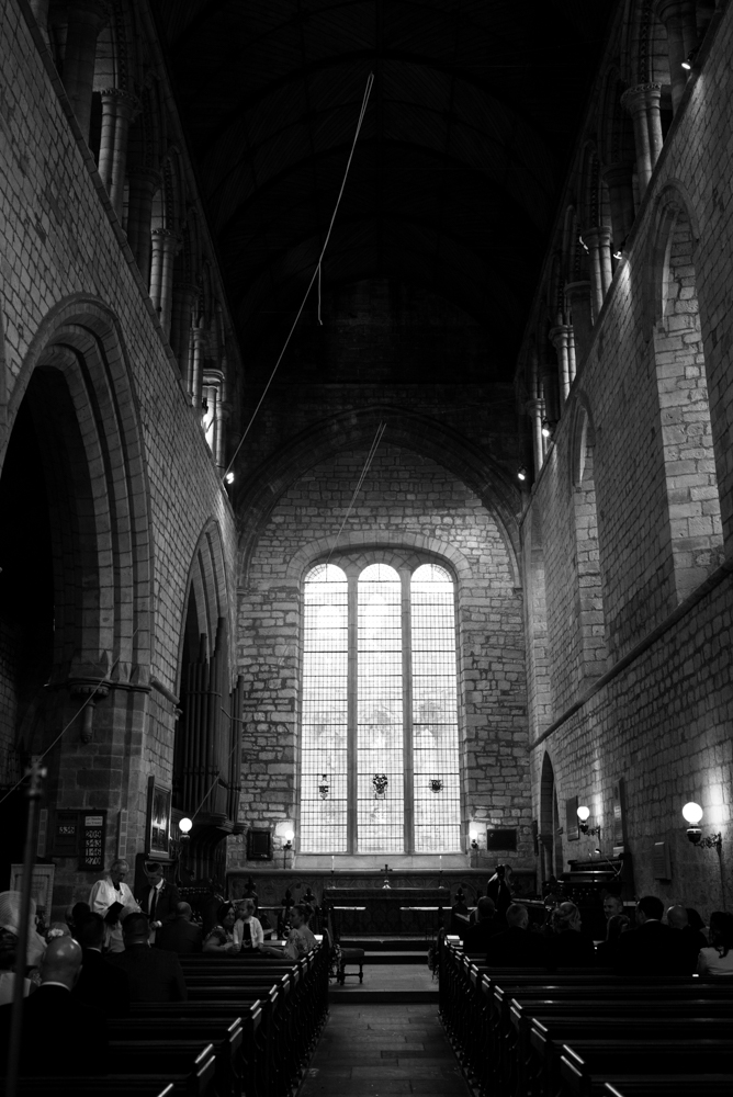 A black and white photo from the rear of Lanercost Priory