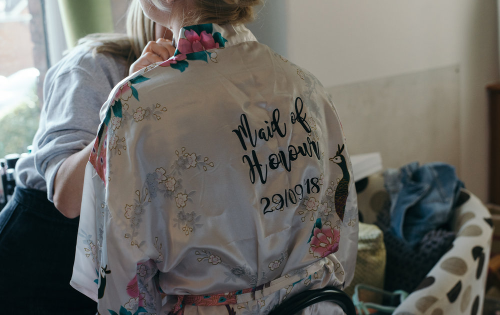 The mother of the brides kimono during morning bridal preparations