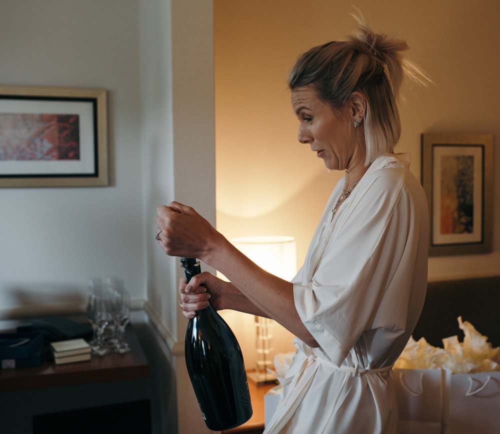A bridesmaid decides it it time to crack open the Prosecco