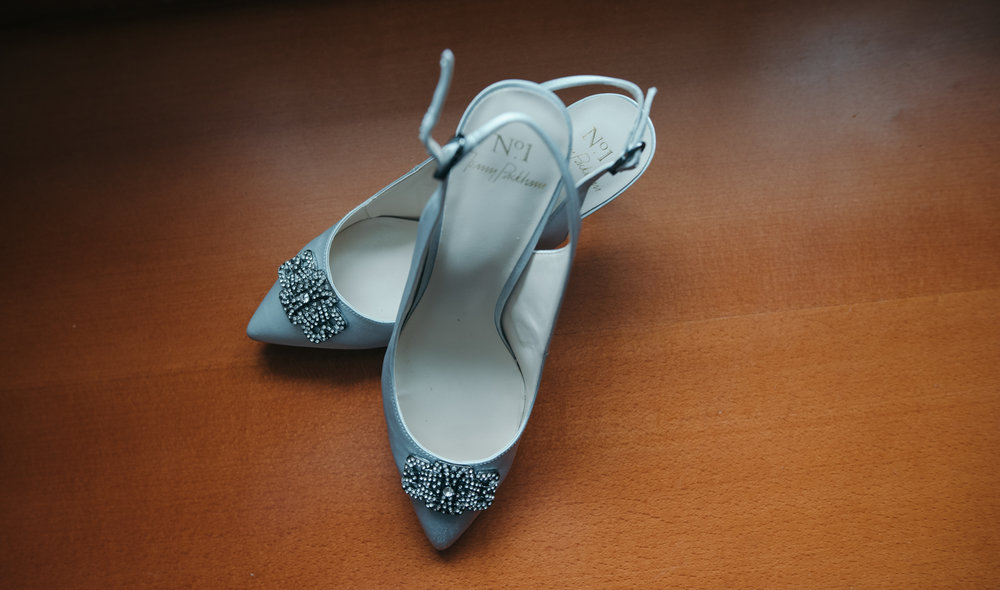 A photo of the brides wedding shoes