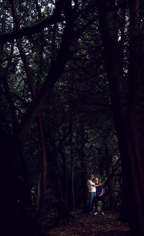 Pre shoot - A couple standing in the woods dark and moody photo