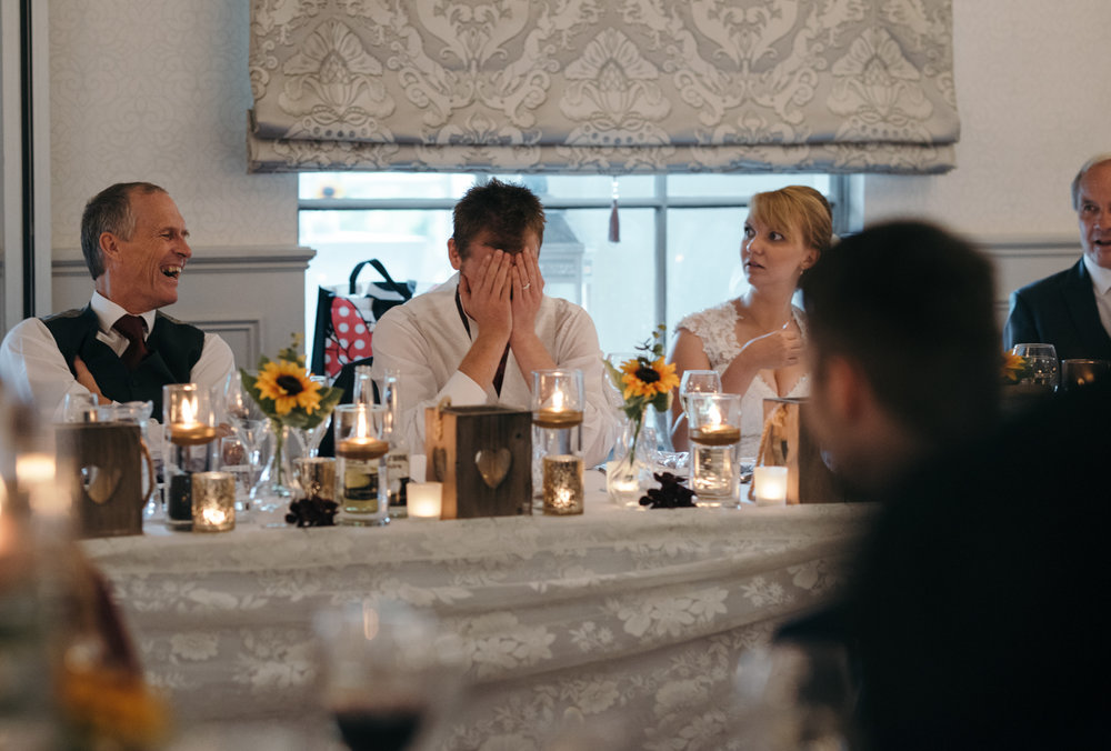 I cant believe he sad that the groom covers his face during the best mans speech