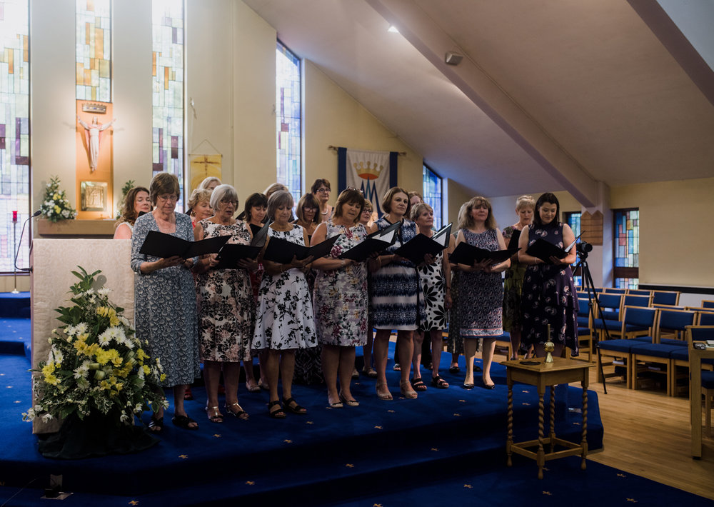 The choir in the church friends of the bride and groom