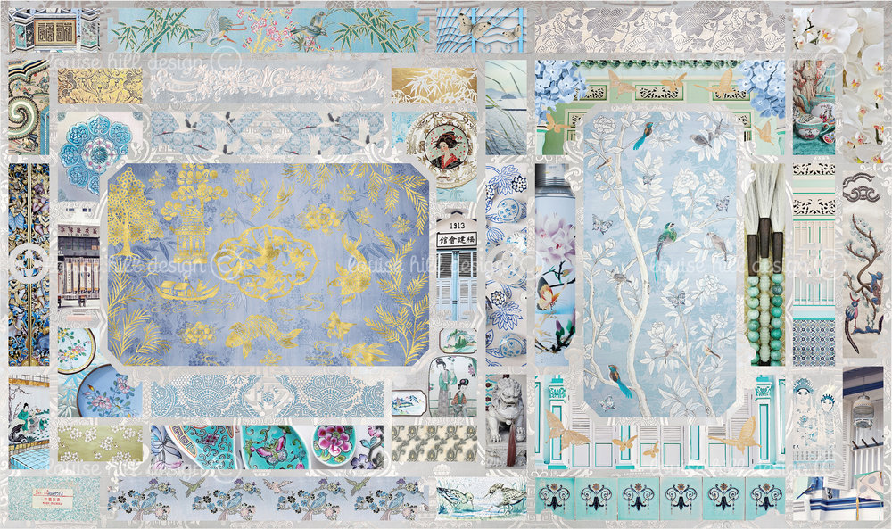 CHINOISERIE IN AQUAMARINE & POWDER BLUES - ETCHING PAPER ONLY