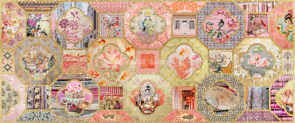 CHINOISERIE IN GOLD & BLUSH PINKS - ETCHING PAPER ONLY