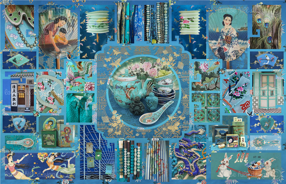 CHINOISERIE IN TEAL & PEACOCK BLUE - ETCHING PAPER ONLY