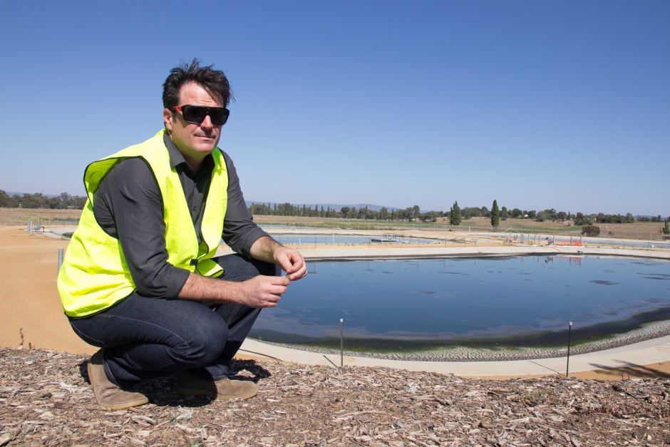 Dylan Gower at the wastewater treatment plant that is part of the planned Cowra biomass project