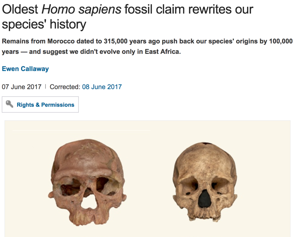 http://www.nature.com/news/oldest-homo-sapiens-fossil-claim-rewrites-our-species-history-1.22114