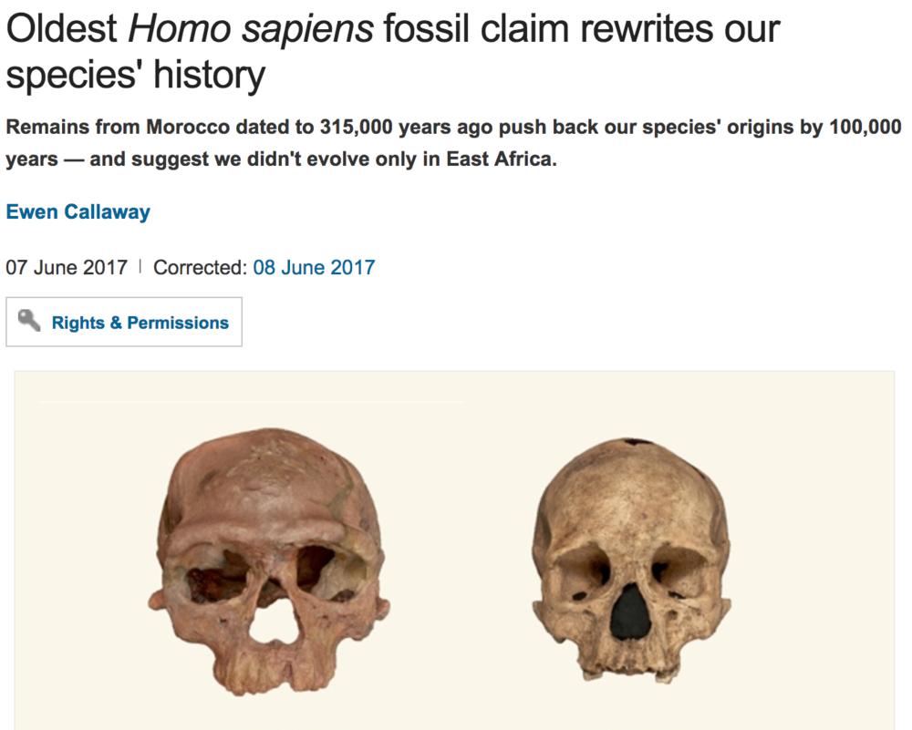 http://www.nature.com/news/oldest-homo-sapiens-fossil-claim-rewrites-our-species-history-1.22114