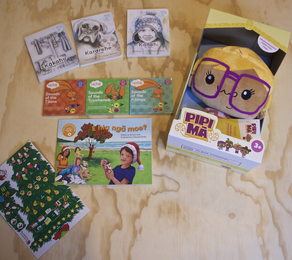 Our amazing bilingual indie pack worth over $200 with books from  Te Reo Singalong  and  Reo Pepi , a beautiful Titoki  Pipi Mā  doll, and the fantastic bilingual triple pack of Eardrops stories!