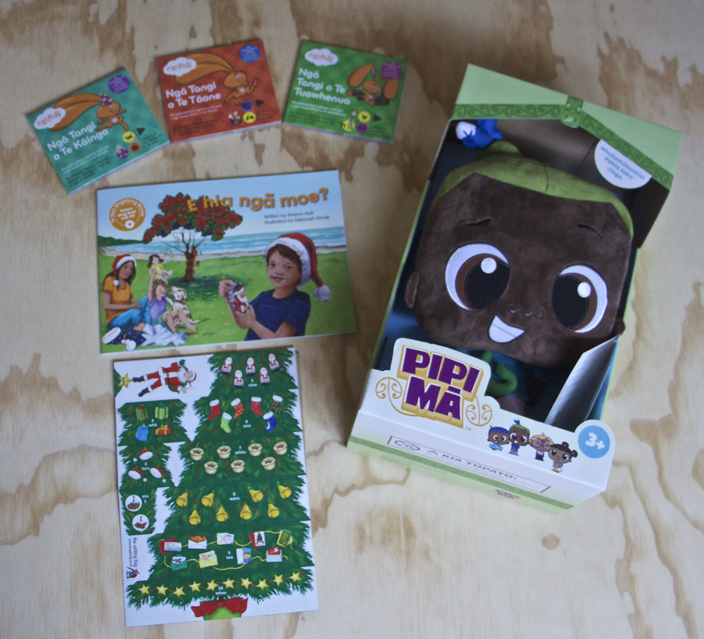 Our amazing Te Reo Māori indie pack with book, CD & magnet set from Te Reo Singalong, a beautiful Hura Pipi Mā doll, and the fantastic Te Reo Māori triple pack of Eardrops stories!