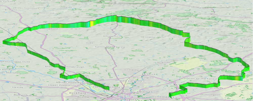 3D Profile of Tuesday's route