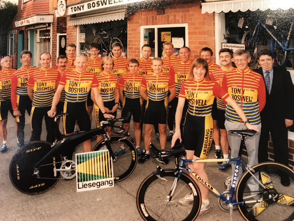 VC York outside Tony Boswell Cycles at some point in the late 1990s.