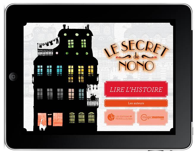 couverture le secret de nonoLe secret de Nono livre application I-pad illustration Amandine Delaunay