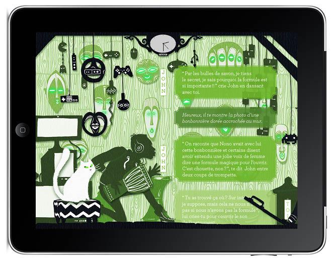 chez john Le secret de Nono livre application I-pad illustration Amandine Delaunay