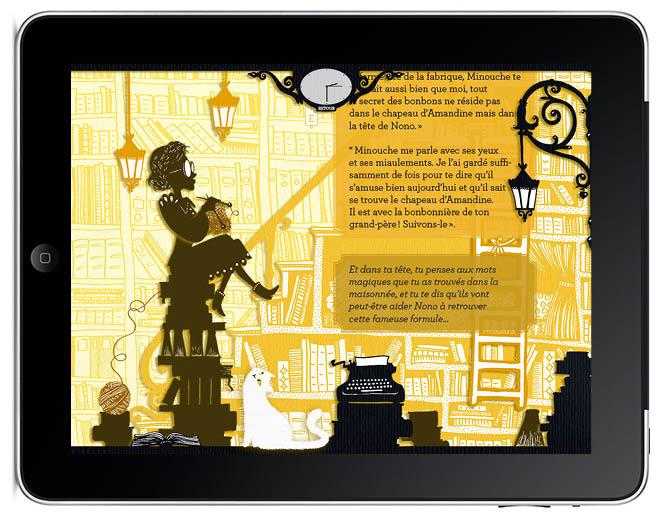 chez lucie Le secret de Nono livre application I-pad illustration Amandine Delaunay