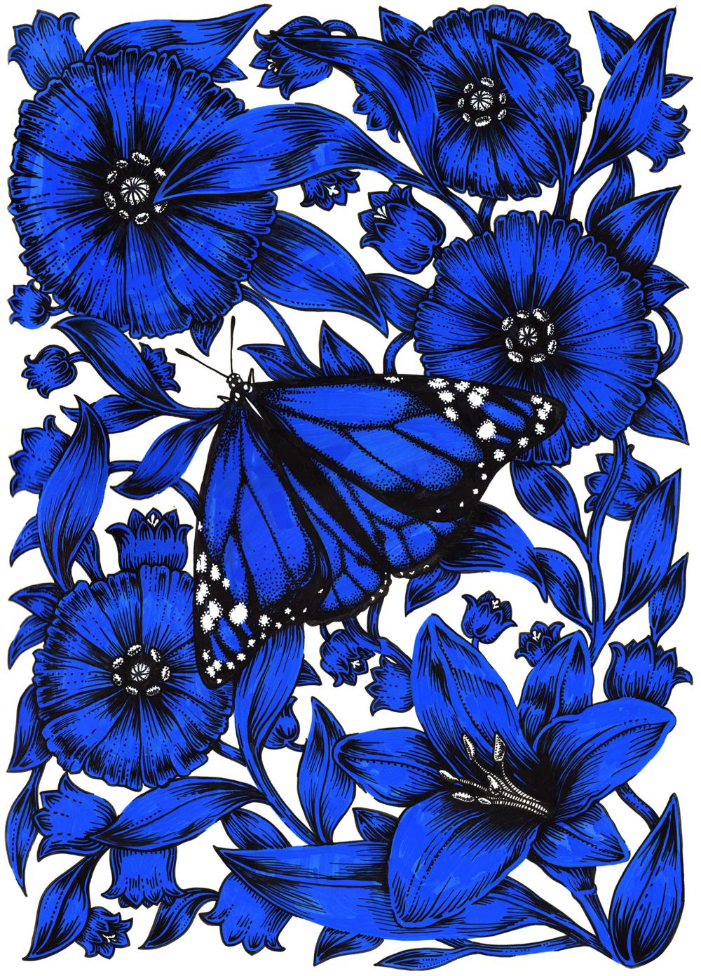 Fleurs bleues  / POSCA