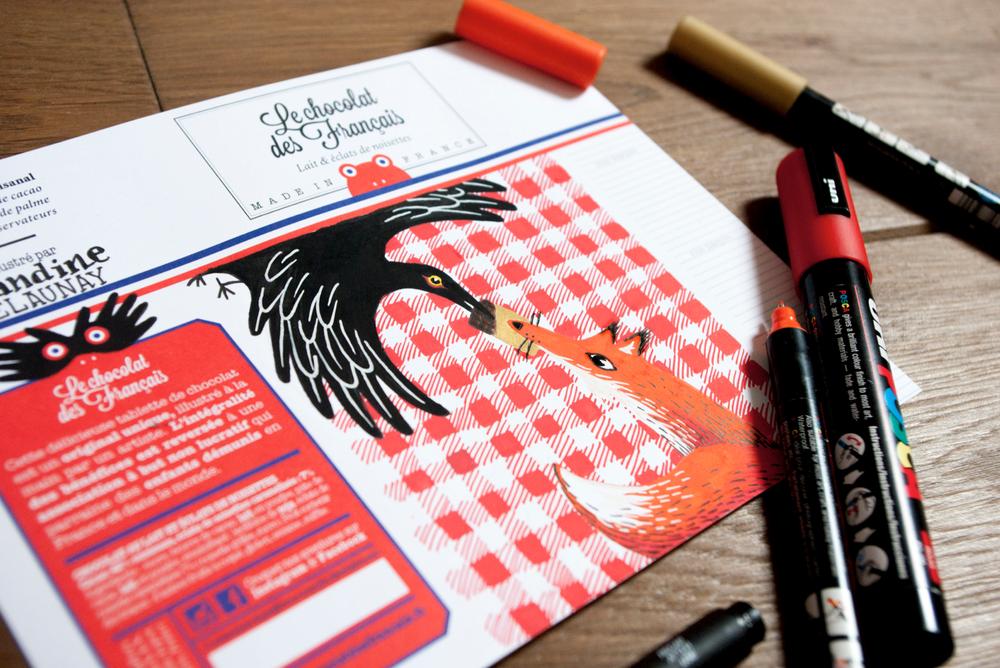 corbeau renard jean de la fontaine illustration le chocolat des francais amandine delaunay