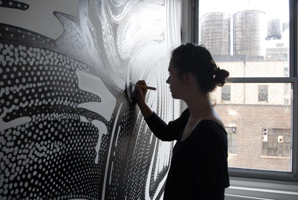 amandine delaunay claire-lise bengué illustration fresque bureaux beauty lab new york manhattan