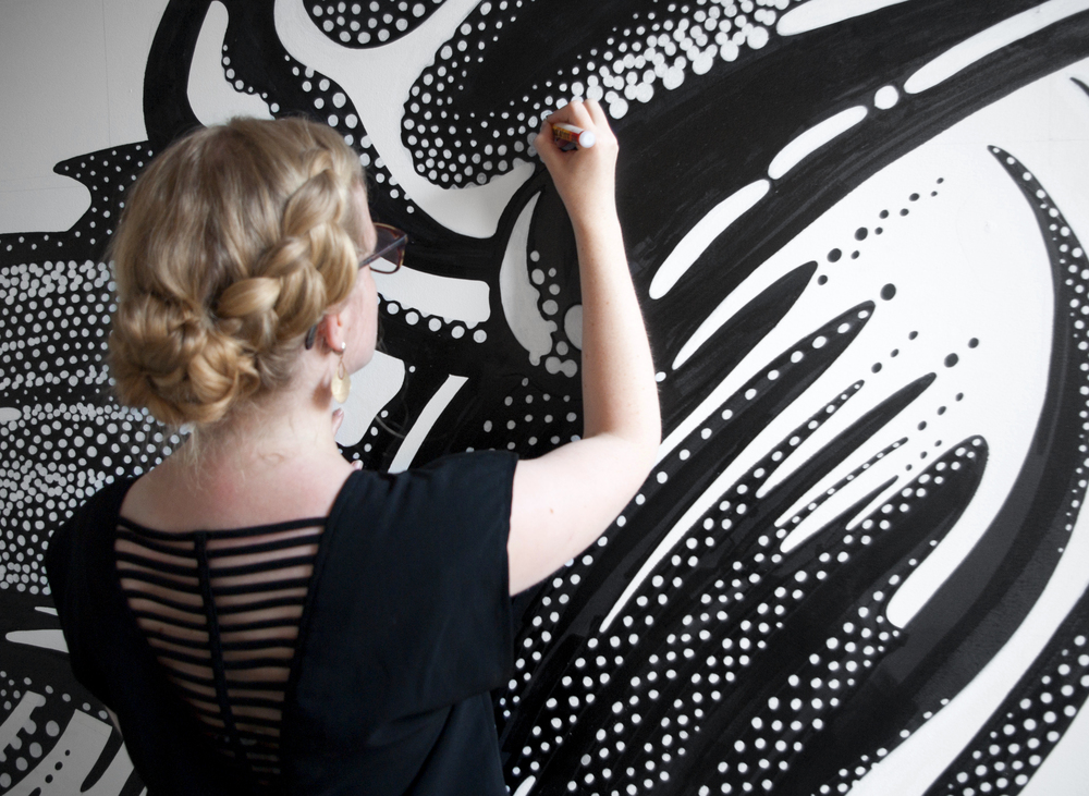 amandine delaunay illustration fresque new york black and white