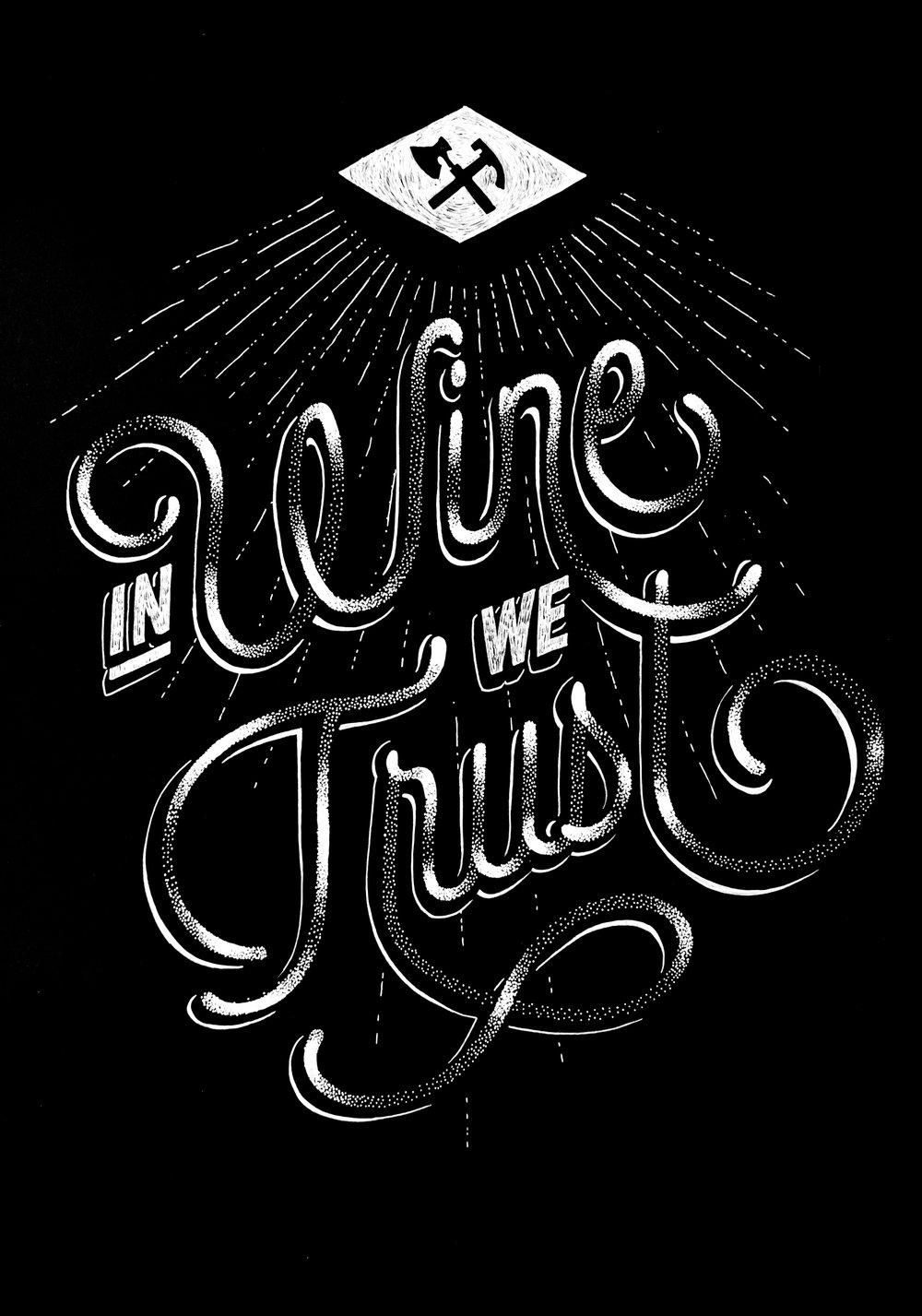Ine wine we trust poster amandine Delaunay winerie parisienne