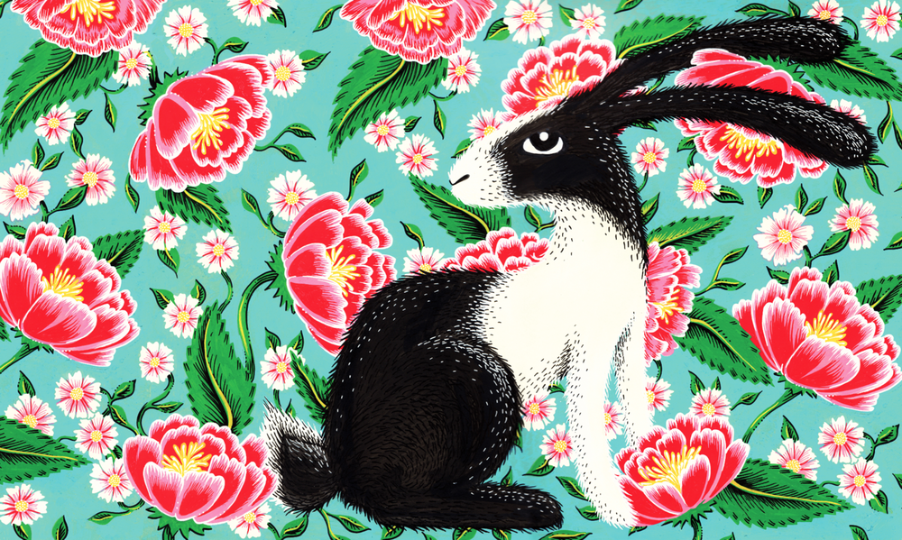 Lapin in the Spring with Daisies  / POSCA