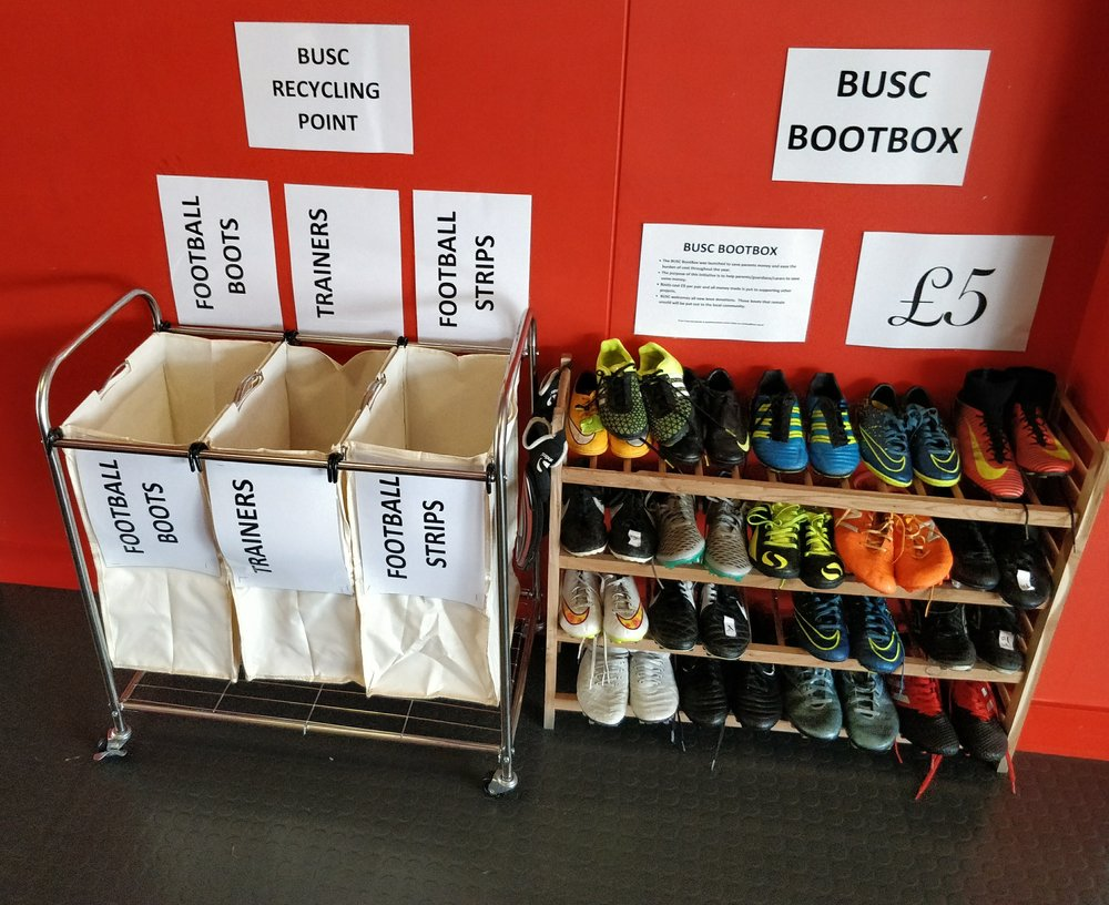 The new recycling point can be found next to the BUSC Bootbox near the main reception of Albyn Park.