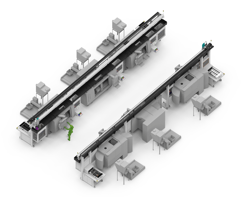 Concatenation of several machine tools with linear gantries. Ideal for large batches and short cycle time