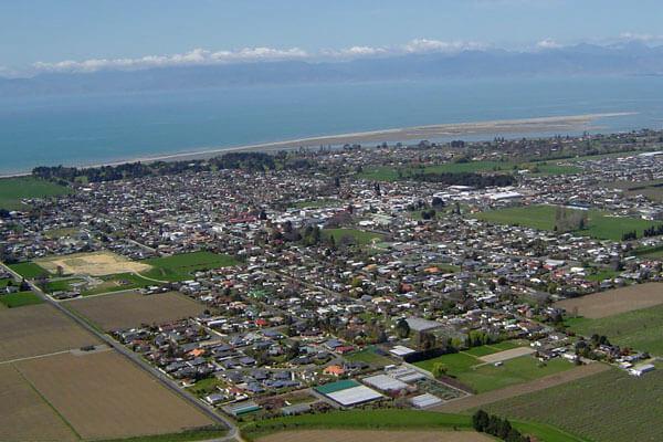 Aerial shot of Motueka