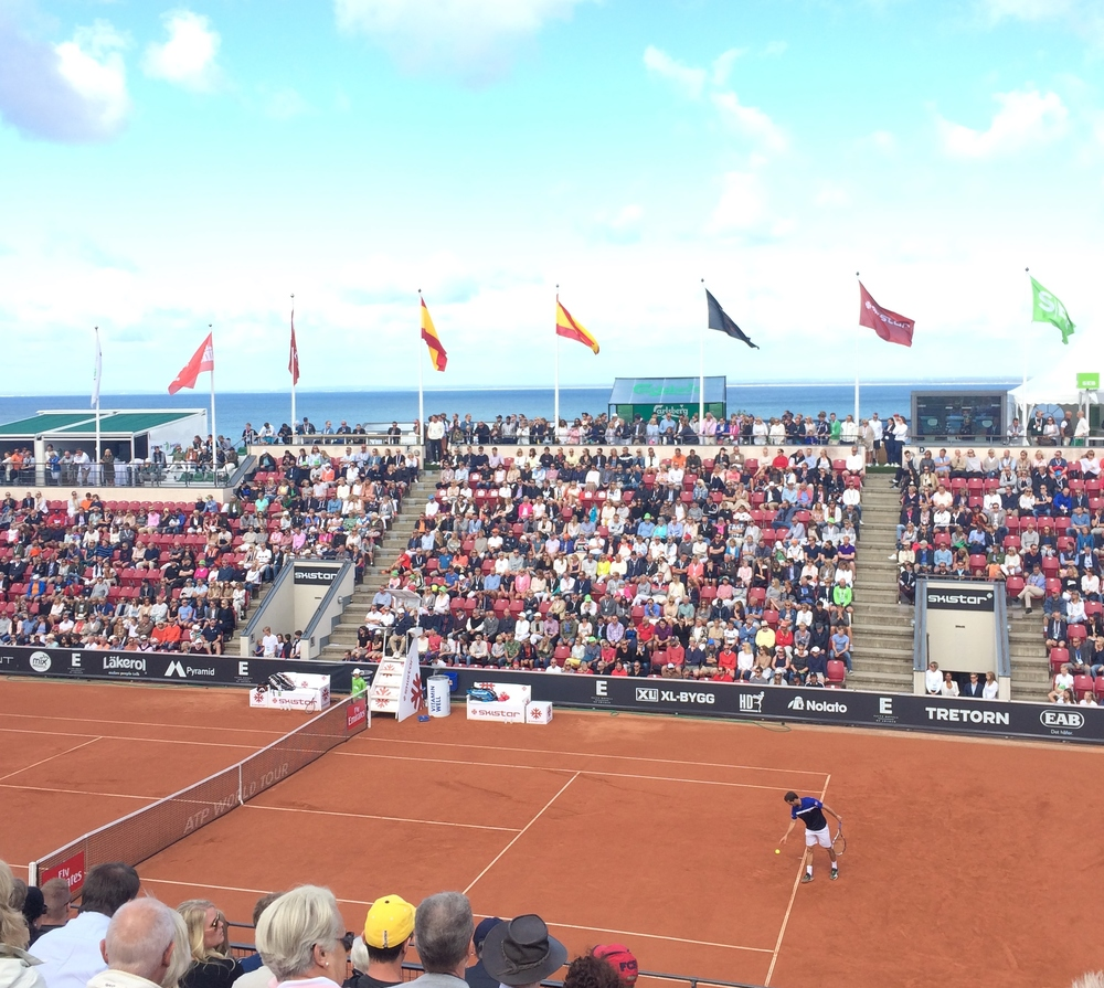 The North Sea is a beautiful backdrop to Stadium Court in Bastad at the Swedish Open