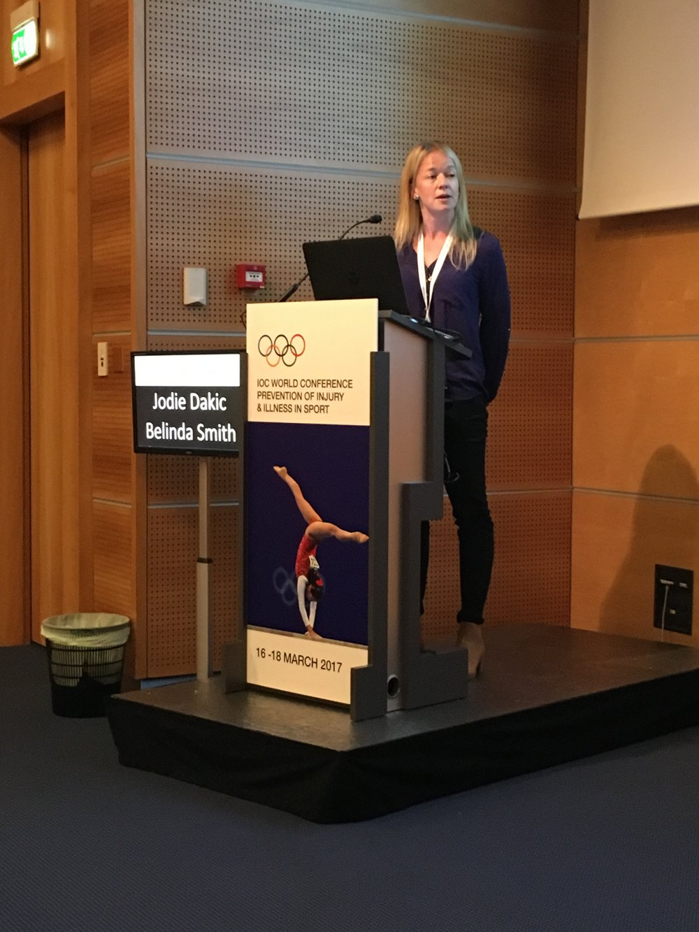 Belinda presenting at the IOC Injury Prevention Conference in Monaco