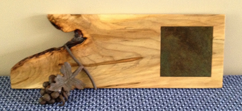 "Natural ""Live Edge"" Maple Server with Inlaid Reclaimed Barn roof Slate. For more details go to SlainteHome.com/Shop."