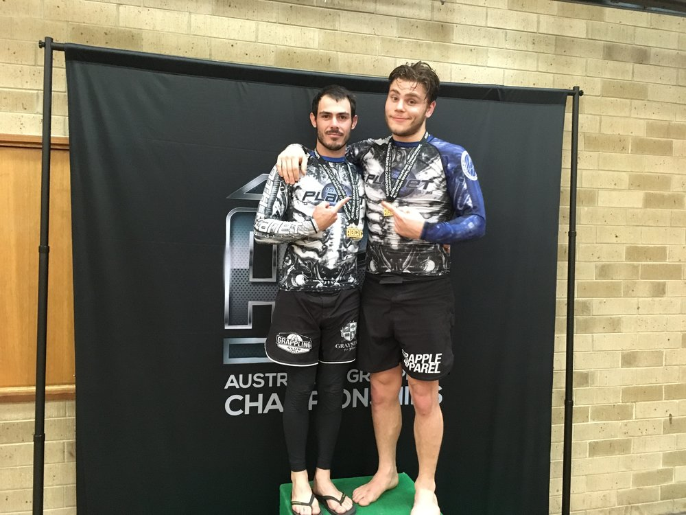 Jack and Devon after competing in Adelaide at Australian Grappling Championships