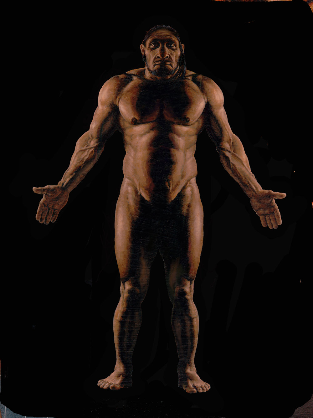 Neandertal male, based on La Ferressie 1, painted for National Geographic Magazine.