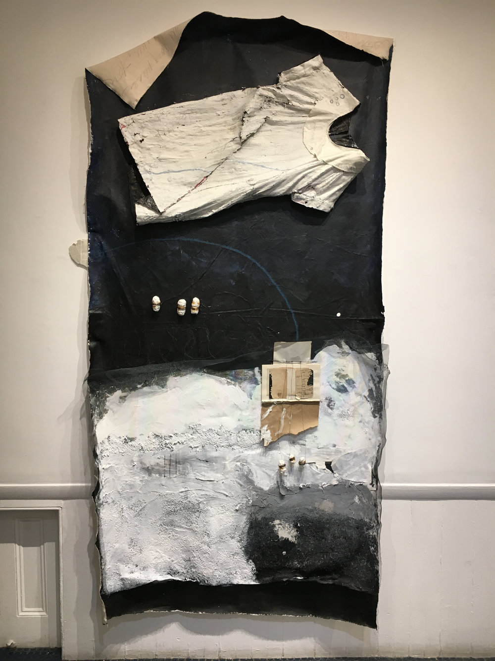 Pupal . 2017. Canvas, paint, paper, dress, plaster, wire. 5' x 6'.
