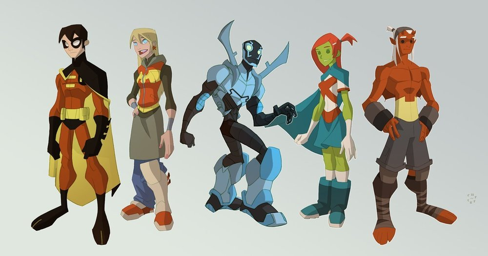 Teen Titans by Sean Galloway, the proportions that we were looking at to get a heroic feel to our characters