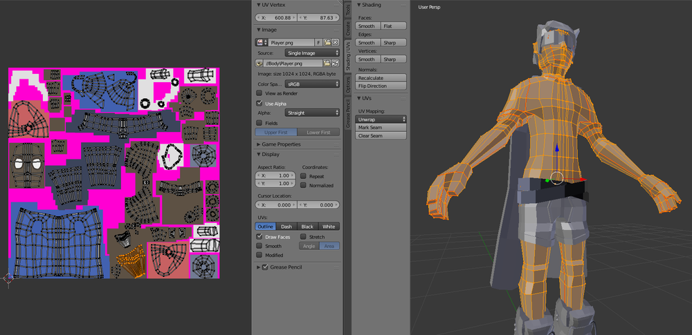 The UV unwrapped for the character.