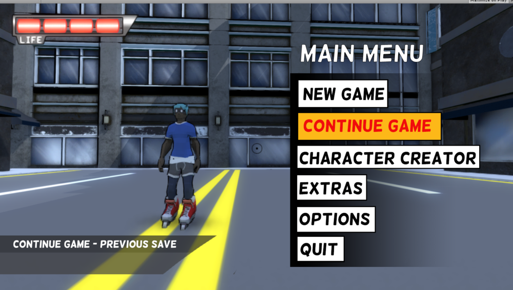 Concept design for the main menu