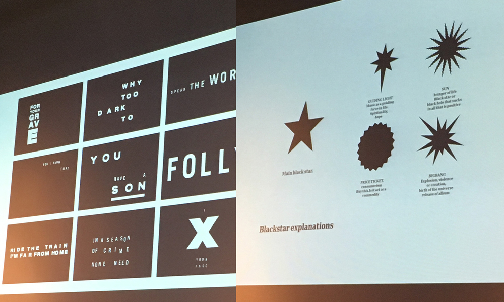 (left) Tom Hingston and Jonathan Barnbrook (right) speak about working with Bowie at April's Letterform Live