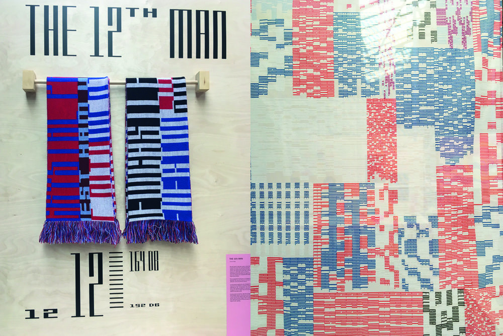 12th Man by Luke Dodridge. The monospaced type was apparently designed to illustrate the volumes of football chants. We thought the football scarves were a nice touch. Find out more on his website  here.