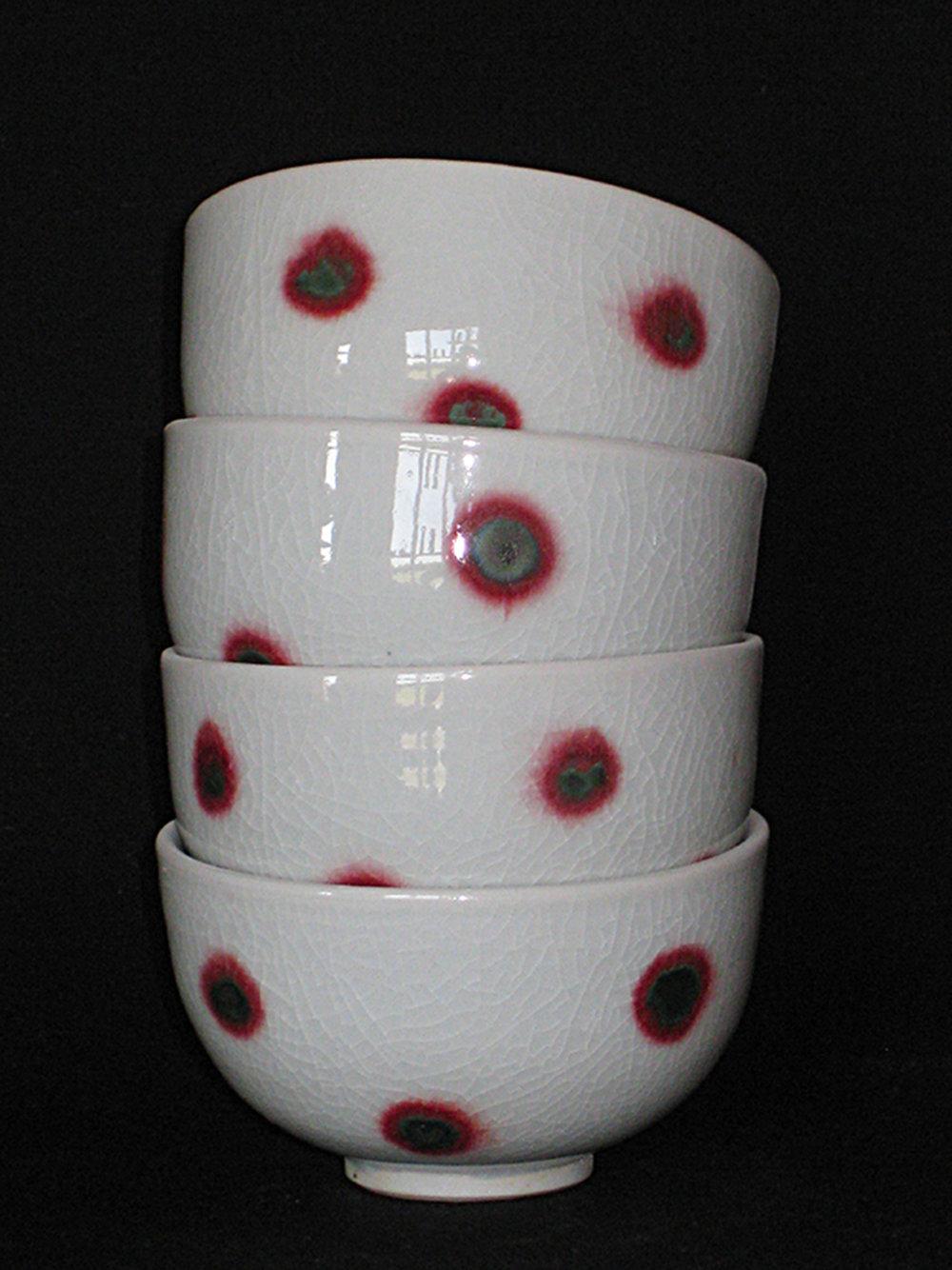 bols à thé en porcelaine, blanc à pois