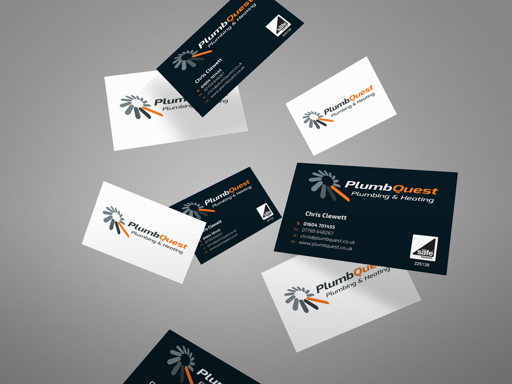 Plumbquest identity formation creative mid wales graphic design plumbquest business cards reheart Gallery