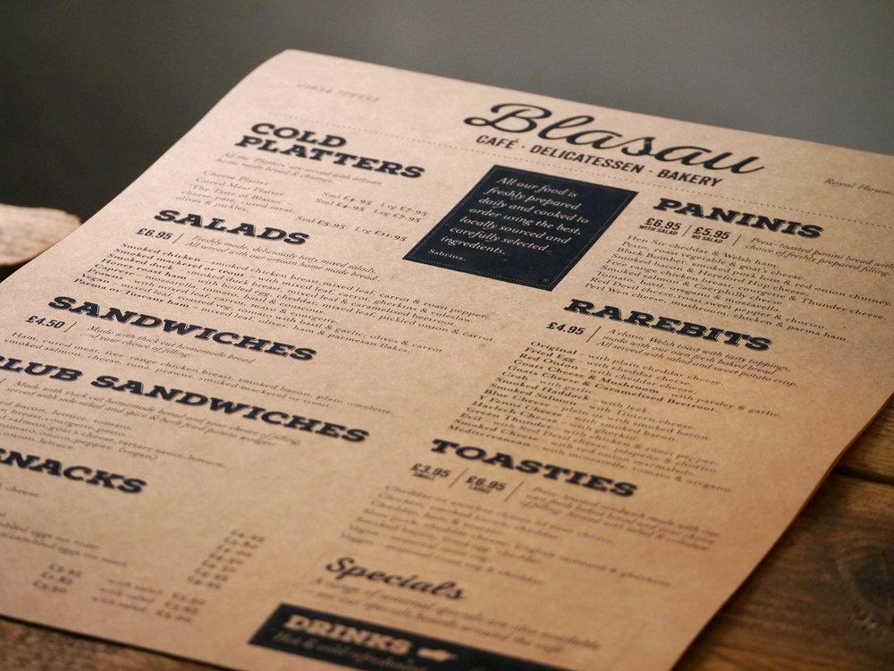 Blasau deli café menu