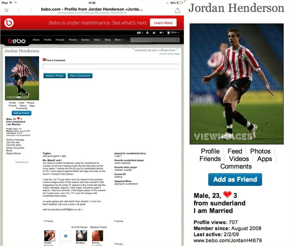 England and Liverpool footballer Jordan Henderson has recently had his old Bebo account come into the spotlight... oh dear Jordan!