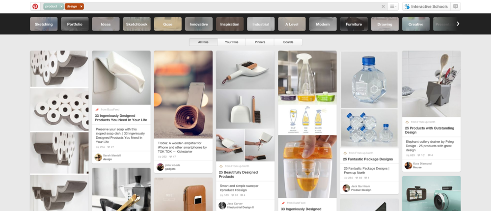 A search for 'Product Design' on Pinterest