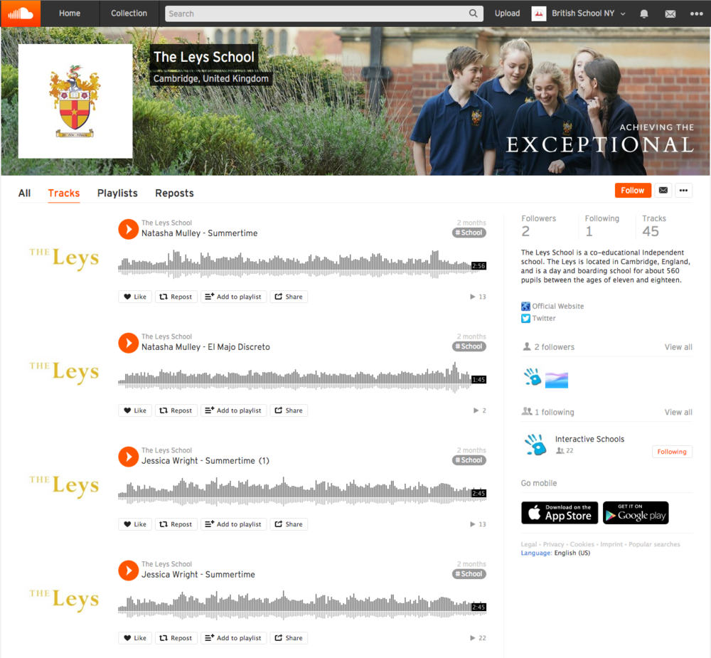 The Leys School Cambridge  SoundCloud account.